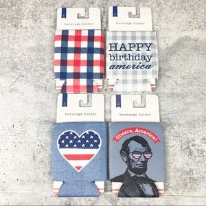 NEW 4th of July Holiday Beverage Holder Coozie Set